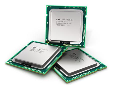 創造的な抽象的なコンピューター技術と電子工業製造概念: 現代 PC 中央プロセッサ CPU は、白い背景で隔離 写真素材