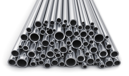metal steel: Creative abstract heavy metallurgical industry and industrial manufacturing business production concept: heap of shiny metal steel pipes isolated on white background