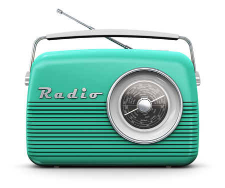 retro radio: Old turquoise or green vintage retro style radio receiver isolated on white background