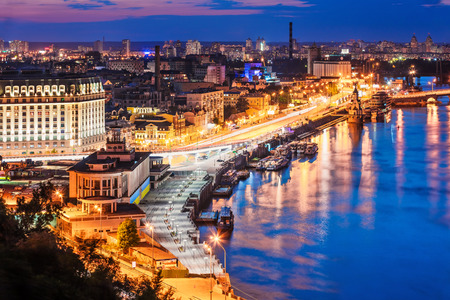 Scenic summer evening aerial view of Dnieper river pier and port in Kyiv Ukraine