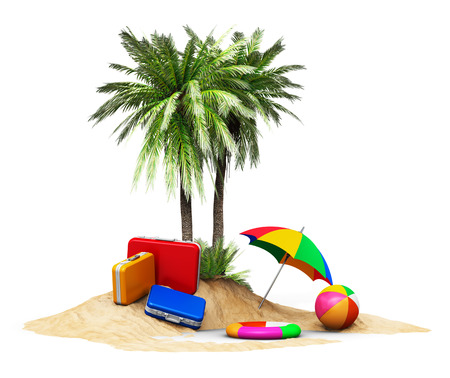 island beach: Creative abstract travel tourism and vacations concept: travel cases luggage umbrella. beach ball and lifebelt on lonely island with green palm trees isolated on white background Stock Photo