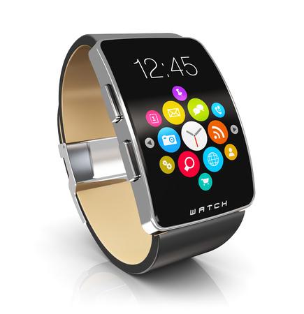 Kreative Zusammenfassung Unternehmen Mobilität und moderne Mobil tragbares Gerät Technologie-Konzept: digitale Smart Uhr oder Uhr mit Farbbildschirm-Schnittstelle mit bunten Anwendungssymbole und App Tasten isoliert auf weißem Hintergrund mit Reflexion Wirkung Standard-Bild
