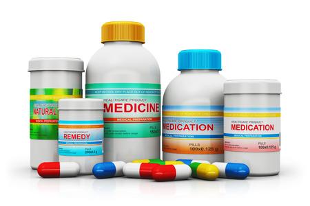 farmacia: Medicina creativo abstracto de la salud y la industria de la farmacia concepto de negocio: grupo de suministros médicos botellas de plástico y latas de atención médica con pastillas de color farmacéuticos y pastillas de colores aislados sobre fondo blanco con efecto de reflexión Foto de archivo