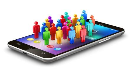 La creación de redes de internet abstracto de medios de comunicación social creativo y moderno concepto de negocio de la tecnología web de comunicación de red informática mundial: grupo de personas de color humanos figuras en negro brillante smartphone con pantalla táctil con iconos de las aplicaciones de colores y botones de aplicaciones