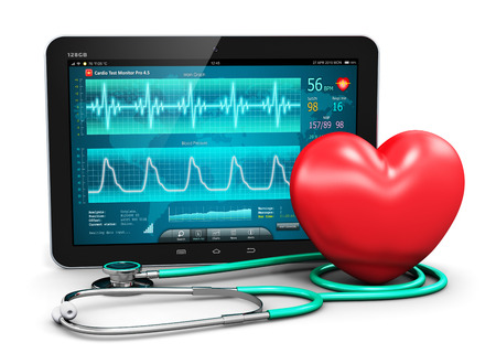 illness: Creative abstract cardiology healthcare medicine and heart health disease medical tool technology concept: tablet computer PC with cardiologic diagnostic test software on screen stethoscope and red heart shape isolated on white background