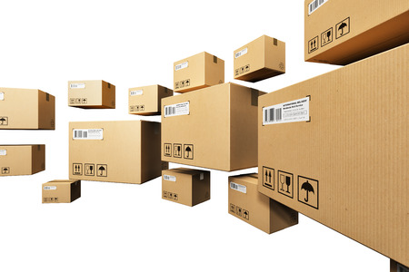 distribution box: Creative abstract shipping logistics and retail parcel goods delivery commercial business concept: group of corrugated paper cardboard box packages isolated on white background Stock Photo