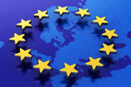 Creativo illustrazione 3D astratta della bandiera dell'Unione Europea UE con contorno blu mappa d'Europa e il cerchio di stelle d'oro