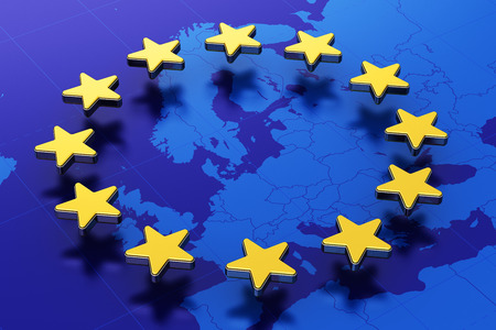 Creative abstract 3D illustration of European Union EU flag with blue contour map of Europe and circle of gold stars Standard-Bild