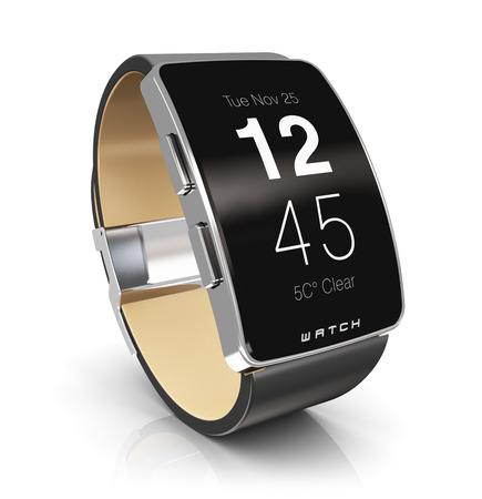 크리 에이 티브 추상 비즈니스 이동성 및 현대 모바일 착용 가능 장치 기술 개념 : 디지털 똑똑한 시계 또는 반사 효과와 흰 배경에 고립 된 시간을 보 스톡 콘텐츠