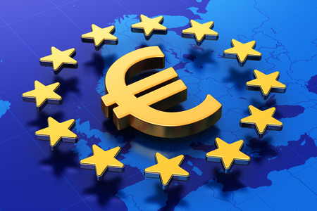 Creative abstract European Union money currency financial business commercial concept: 3D illustration of gold Euro symbol or golden sign in circle of stars over blue map of Europe