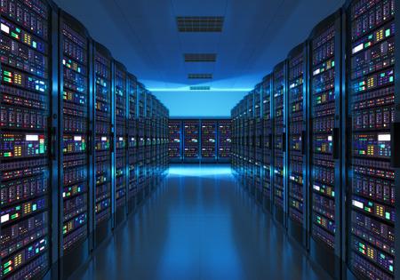 granja: Moderna red Internet y la tecnolog�a de telecomunicaciones a Internet, gran almacenamiento de datos y servicio de equipo de computaci�n en nube concepto de negocio: la sala de servidores de interiores en los centros de datos en luz azul