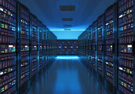 Moderne web-netwerk en internet telecommunicatietechnologie, big data-opslag en cloud computing computer service business concept: serverruimte interieur in datacenter in blauw licht