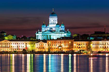 christian: Scenic night view of the Old Town architecture and pier with Market Square and Lutheran Christian Cathedral Church at the Senate Square in Helsinki, Finland