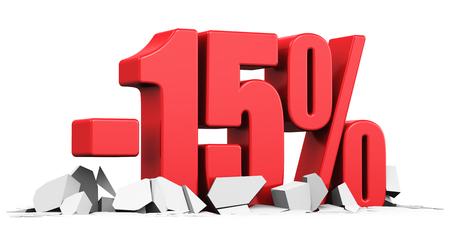 Creatief abstract verkoop en korting commercieel reclame concept: rood 15 procent prijs afgesneden tekst op gebarsten oppervlak op een witte achtergrond Stockfoto