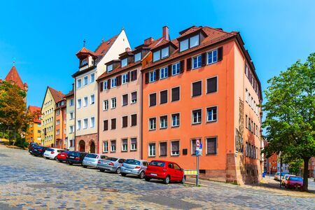 nuremberg: Scenic summer view of street with extreme slope in the Old Town in Nurnberg, Bavaria, Germany
