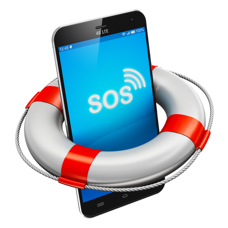 Creative abstract mobile security, emergency services and electronic devices repair and maintenance concept: modern black glossy touchscreen smartphone with lifesaver buoy isolated on white background