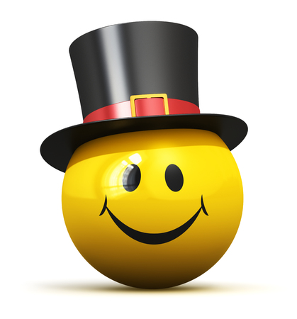black yellow: Creative abstract good mood, fun emotion and positive feeling expression concept: happy yellow smiley emoticon ball face with smile in black hat isolated on white background Stock Photo