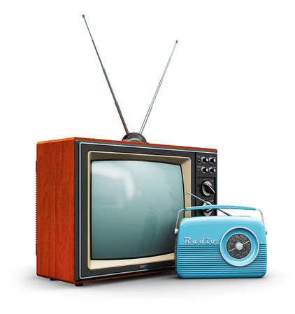 Creative abstract communication media and vintage television business concept: old retro color wooden home TV receiver set with antenna and blue plastic analog radio receiver isolated on white background