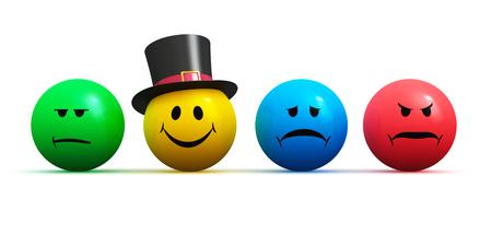 創造的な抽象的な気分、感情、感情表現コンセプト: 色スマイリーの顔絵文字 4 さまざまな気分: 幸福、悲しみ、怒り、白い背景で隔離の不満