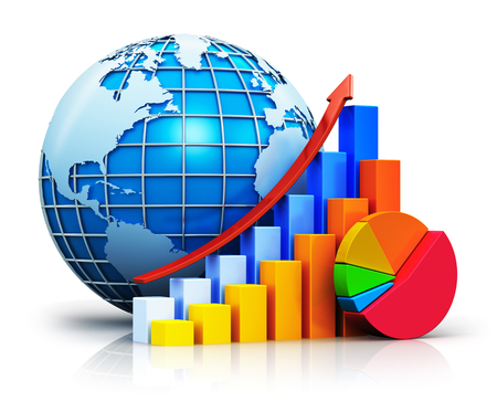 Creative abstract global business communication success, worldwide financial growth and development concept: color growing bar graphs with red rising arrow, colorful pie chart and blue Earth globe sphere with world map isolated on white background with re