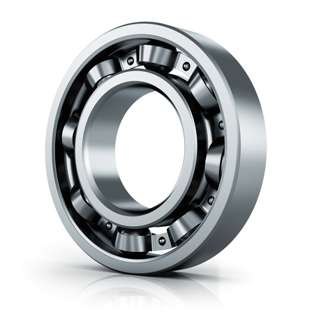 friction: Creative abstract mechanics, industrial machinery and manufacturing industry concept: steel shiny ball bearing isolated on white background with reflection effect