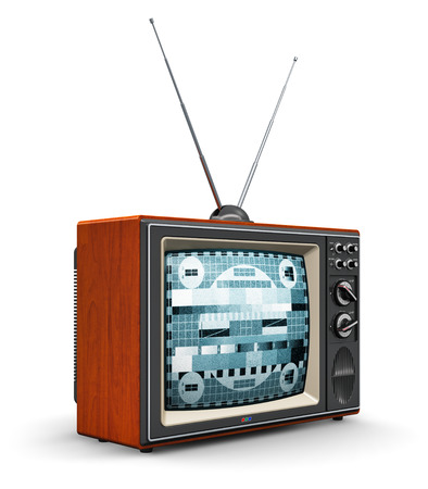 크리 에이 티브 추상 통신 매체 및 TV 비즈니스 개념 : 오래 된 레트로 컬러 나무 집에 TV 수신기 안테나 세트 흰색 배경에 고립