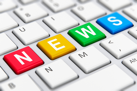 news: Creative abstract social print media network and internet web communication business concept: macro view of color News text word on buttons of white computer PC or laptop notebook keyboard with selective focus effect