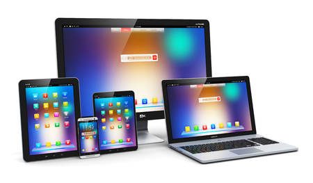 Media: Creative abstract computer technology, mobility and communication business concept: laptop, notebook or netbook PC, mini tablet computer, touchscreen smartphone and desktop monitor display screen TV isolated on white background