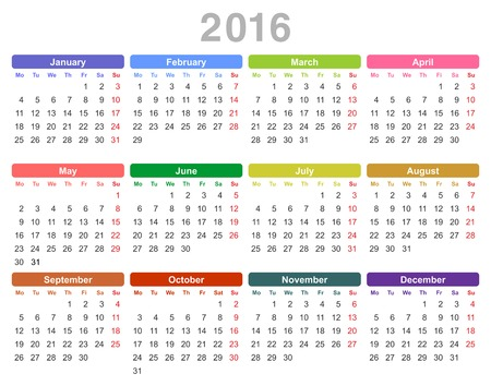 january 1st: Color vector illustration of 2016 year annual calendar Monday first, English isolated on white background Illustration