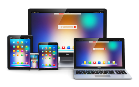 Creative abstract computer technology, mobility and communication business concept: laptop, notebook or netbook PC, mini tablet computer, touchscreen smartphone and desktop monitor display screen TV isolated on white background