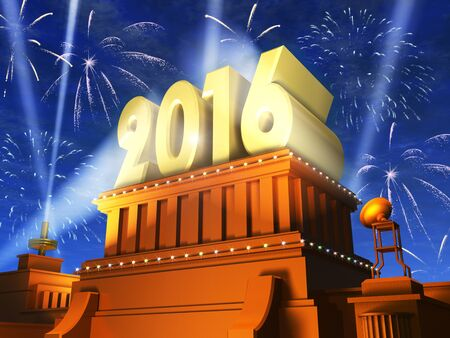 glory of the snow: Creative abstract New Year 2016 celebration concept: shiny golden 2016 text on pedestal at night with fireworks in cinema style