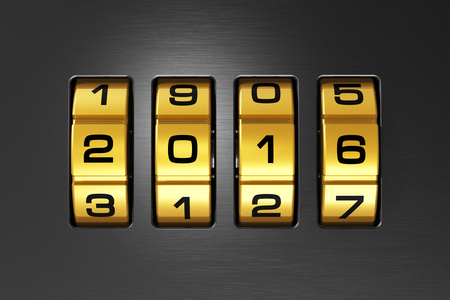 scaler: Creative abstract New Year 2016 concept: macro view of combination lock with 2016 code text Stock Photo