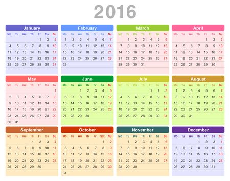 january 1st: Color vector illustration of 2016 year annual calendar (Monday first, English) isolated on white background
