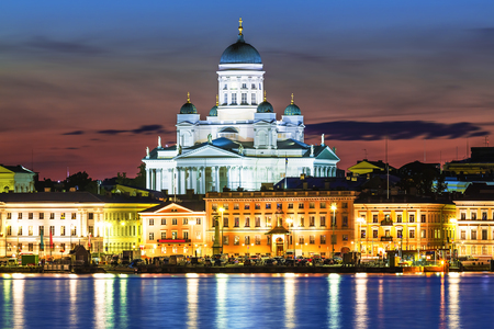 water  scenic: Scenic night view of the Old Town architecture and pier with Market Square and Lutheran Christian Cathedral Church at the Senate Square in Helsinki, Finland