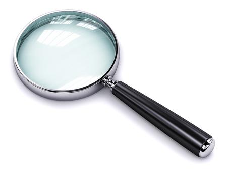 크리 에이 티브 추상 검색, 탐색 및 정보 비즈니스 사무실 기술 인터넷 개념을 찾을 : 빛나는 금속 돋보기 나 돋보기 흰색 배경에 고립 스톡 콘텐츠