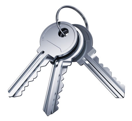 shiny metal background: Creative abstract home security and house safety business success concept: bunch of shiny metal keys with ring isolated on white background