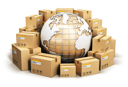 Creative abstract global logistics, shipping and worldwide delivery business concept: Earth planet globe surrounded by heap of stacked corrugated cardboard boxes with parcel goods isolated on white background Stock Photo