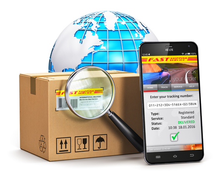 Creative abstract global logistics, worldwide shipping, delivery and online internet order parcel tracking technology business commercial concept: black glossy touchscreen smartphone with mail parcel tracking application on screen, corrugated cardboard ca