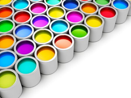 Abstract creativity concept: group of tin metal cans with color paint dye isolated on white background