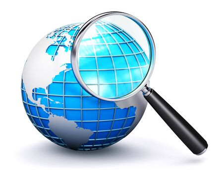 zoom earth: Creative abstract global computer web search communication PC technology internet business concept: blue Earth globe with map and shiny metal magnifying glass lens or magnifier loupe isolated on white background