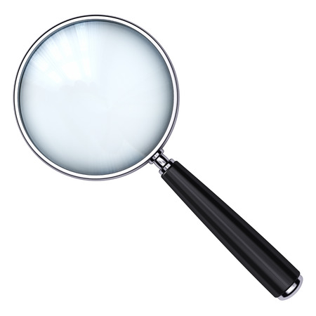 seeking solution: Creative abstract search, seek and find information business office technology internet concept: metal shiny magnifying glass or magnifier isolated on white background