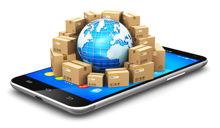 Creative abstract global logistics, shipping, worldwide delivery and online commerce internet web business concept: Earth planet globe surrounded by heap of stacked corrugated cardboard boxes with parcel goods on black metal glossy touchscreen smartphone