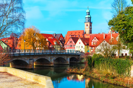 der: Scenic spring view of the Old Town pier ancient medieval architecture of Lauf an der Pegnitz in Nurnberger Land district of Bavaria, Germany