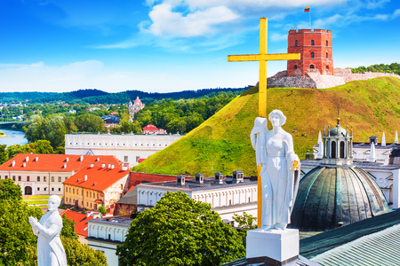 town: Scenic summer view of the Old Town architecture with Gediminas Tower in Vilnius, Lithuania