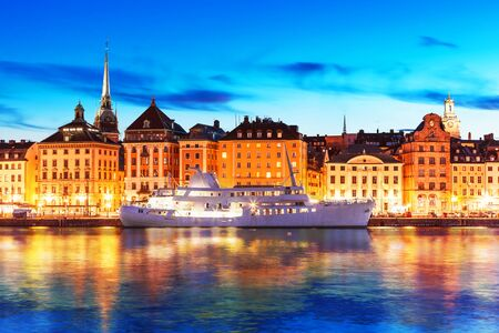 gamla stan: Scenic summer evening view of the Old Town Gamla Stan architecture pier in Stockholm, Sweden