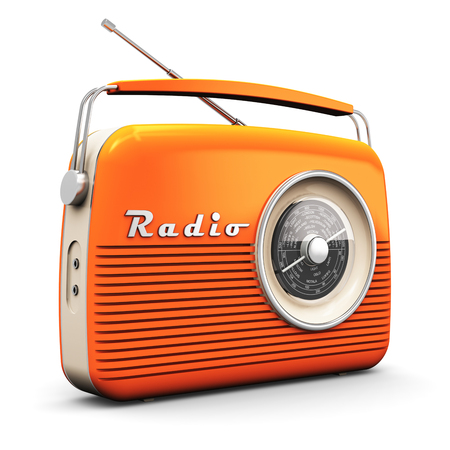 Old orange vintage retro style radio receiver isolated on white background