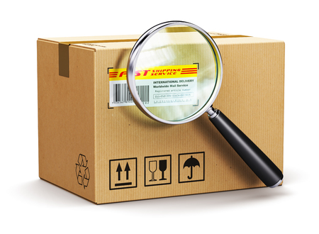 Creative abstract global logistics, worldwide shipping, delivery and online internet order parcel tracking technology business commercial concept: corrugated cardboard carton box parcel with tracking number and barcode and magnifier glass lens isolated on