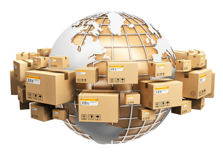 Creative abstract global logistics, shipping and worldwide delivery business concept: Earth planet globe surrounded by heap of stacked corrugated cardboard boxes with parcel goods isolated on white background Stockfoto