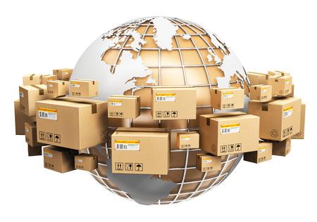 alrededor del mundo: logística global abstracto creativo, envío y entrega en todo el mundo concepto de negocio: Tierra del globo del planeta rodeada por el montón de cajas de cartón corrugado apilados con artículos en paquetes aislados sobre fondo blanco