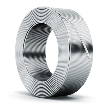 Creatief abstract zware metaalindustrie en de industriële productie bedrijf productie concept: hunk van glanzend metaal roestvrij nog, ijzer of aluminium elektrische draad kabel op een witte achtergrond
